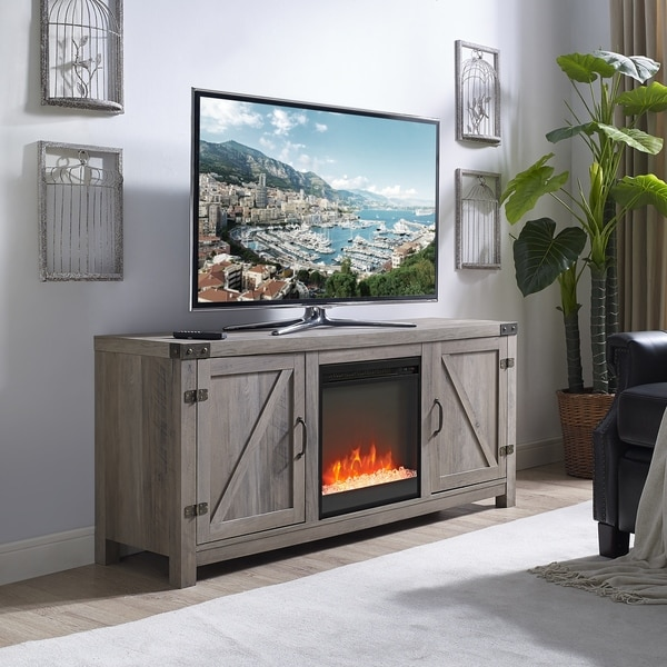 58-inch Barn Door Fireplace TV Stand - Grey Wash - Free ...