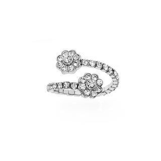 Isla Simone Gold or Rhodium Plated Wrap Style Double Flower Ring with White Crystals, Size 7