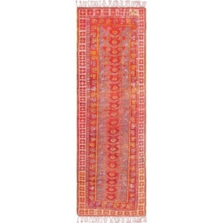 "Antique Oushak Collection Hand-Knotted Wool Runner (4' 0"" X 12' 5"")"
