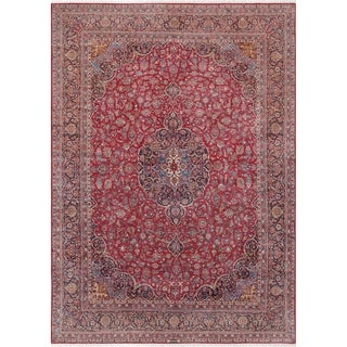 """Antique Kashan Collection Red/Navy Wool Area Rug (10' 7"""" X 15' 0"""")"""