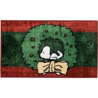 Peanuts Buddies Snoopy in Wreath Green Accent Rug by Nourison
