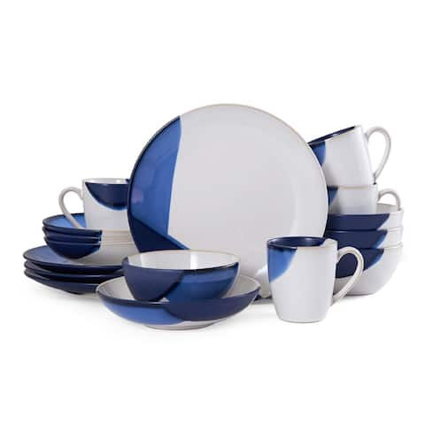 Gourmet Basics by Mikasa Caden Blue 16-Piece Dinnerware Set (Service for 4)