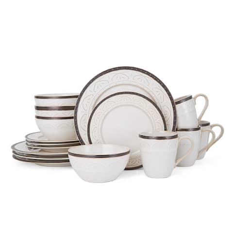Pfaltzgraff Promenade Scroll Stoneware 16-Piece Dinnerware Set