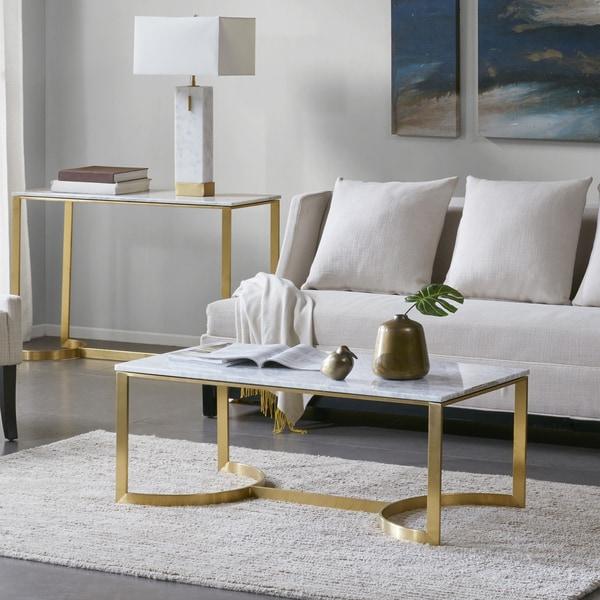 "Madison Park Antonio Marble/ Gold Coffee Table - 44"" w x 22"" d x 17""h"