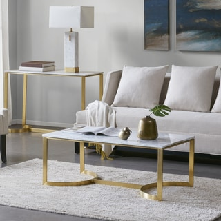 Madison Park Antonio Goldplated Steel/Marble Coffee Table