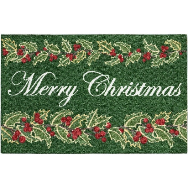"""Kathy Ireland Once Upon A Christmas """"Merry Christmas"""" Green Accent Rug by Nourison"""