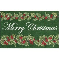 "Kathy Ireland  Once Upon A Christmas ""Merry Christmas"" Green Accent Rug by Nourison (1'8 X2'8)"