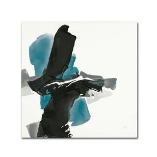 Chris Paschke 'Black and Teal IV' Canvas Art