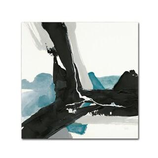 Chris Paschke 'Black and Teal III' Canvas Art