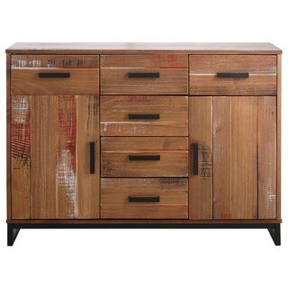 Santana Pine and Metal 2-door 6-drawer Sideboard