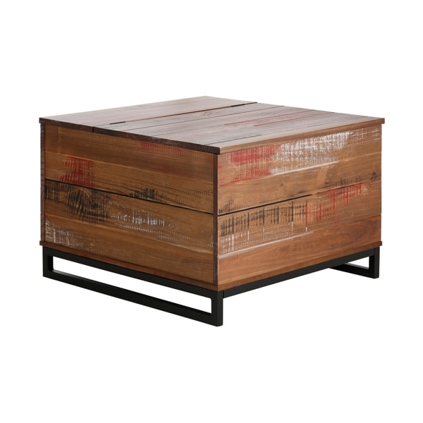Scandinavian Living Santana Distressed Brown Pinewood Trunk Storage Table