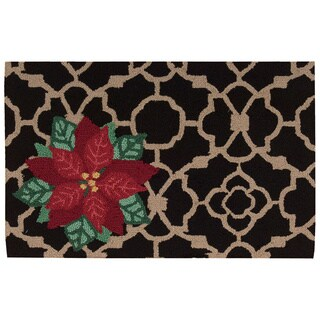 """Waverly Christmas """"Poinsettia"""" Black Accent Rug by Nourison"""