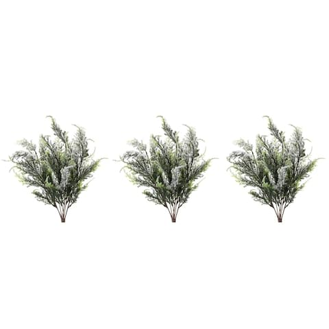 7 Stems Faux Cypress Bush with Snow Christmas Decor