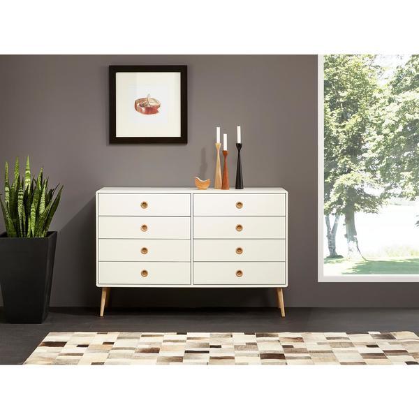 Scandinavian Living Softline Matte White Oak 8 Drawer Dresser