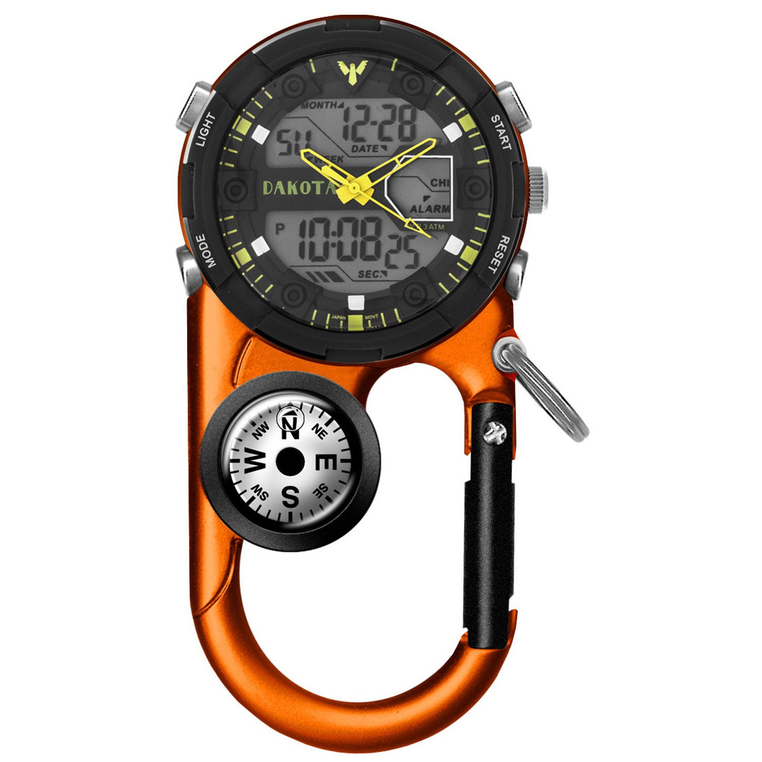 Dakota WATCH CO II Analog and Digital Clip Watch, Orange, Non-metallic