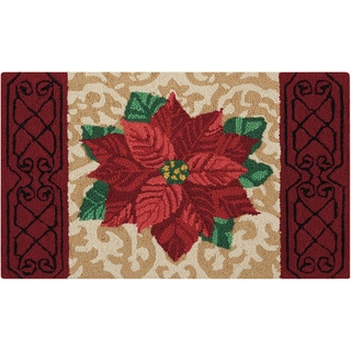 "Waverly Christmas ""Poinsettia"" Beige Accent Rug by Nourison (1'9 X2'9)"