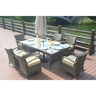 Rectangle Rattan Dining Set with 6 Eton Chairs by Direct Wicker