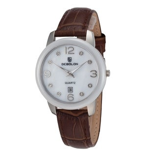 Debolon Women's Fashion Watch Stainless Steel Case White Ceramic Bezel by Rougois