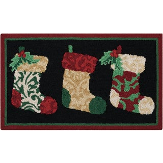 "Waverly Christmas ""Three Stockings"" Black Accent Rug by Nourison"