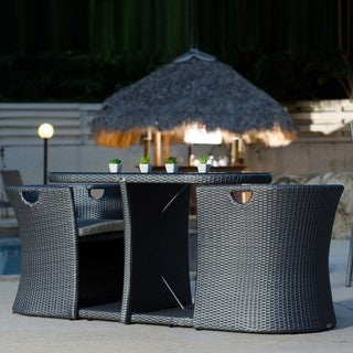 Synthetic Wicker Rattan Outdoor Three Piece Dining Set
