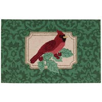 """Waverly Christmas """"Cardinal"""" Green Accent Rug by Nourison"""