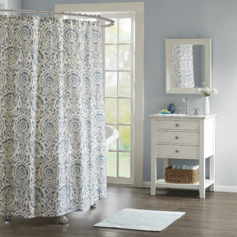 Echo Design Kamala Blue Cotton Sateen Printed Shower Curtain