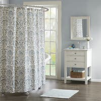 Echo Design Kamala Blue Cotton Sateen Printed Shower Curtain