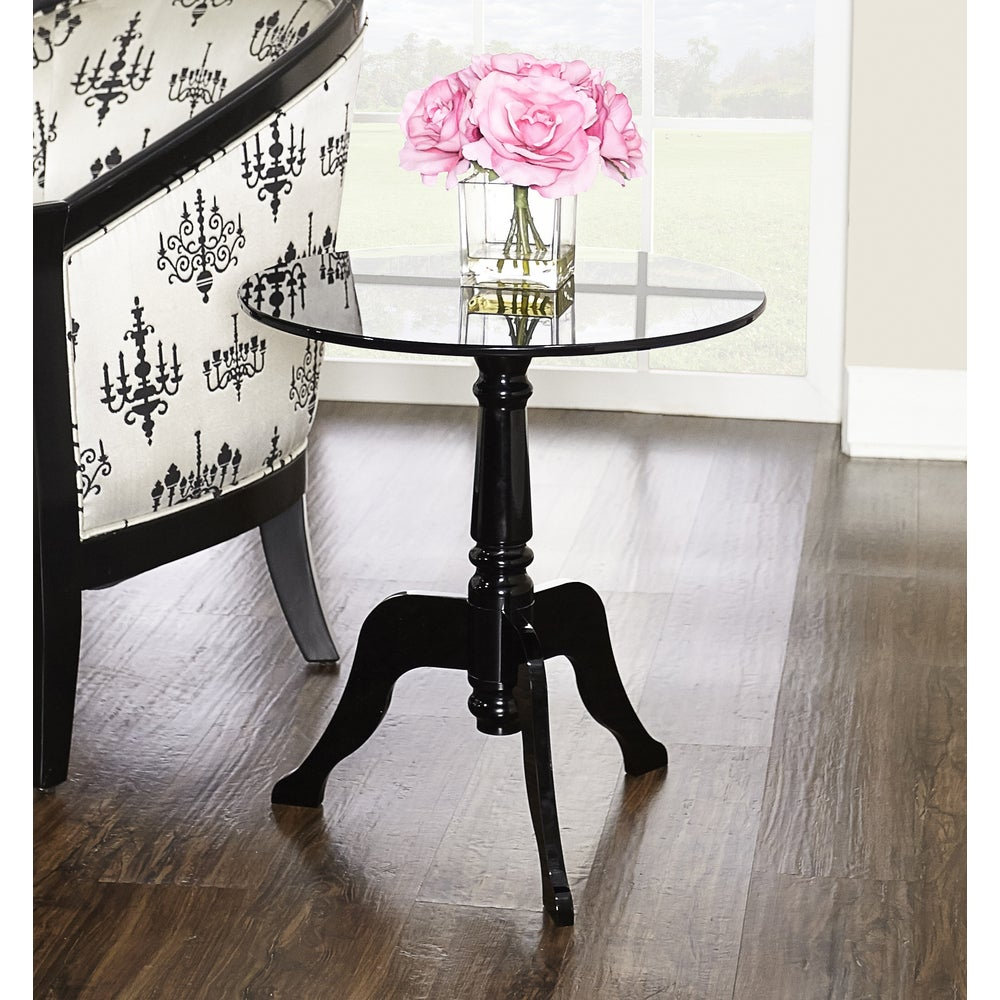 Linon Sarah Black Acrylic End Table