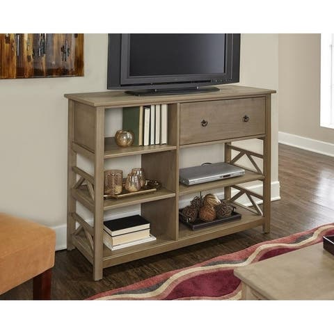 Linon Elaine Driftwood Tall Media Center