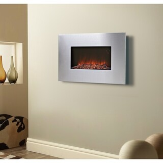 Clarington Wall Mount Fireplace  in Silver