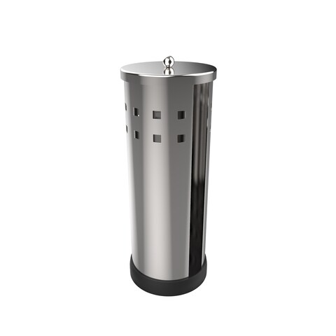 Freestanding Toilet Paper Holder Canister- Toilet Tissue Bathroom Storage Chrome Polished Stainless Steel by Windsor Home