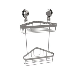 Wall Mounted Two Tier Corner Shower Caddy- Stainless Steel Twist Lock Suction Cups by Windsor Home