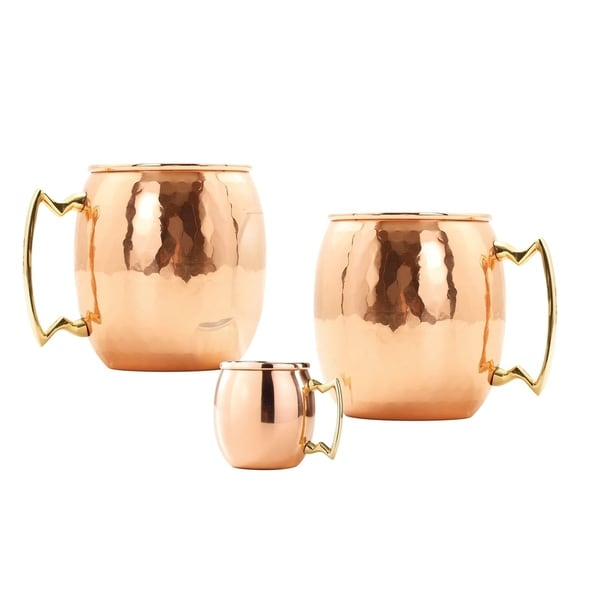 Set of 2, 16 Oz. Hammered Solid Copper Moscow Mule Mug (L,NL,CBH) with Bonus Mini Mug