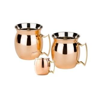 Set of 2, 16 Oz. Solid Copper Flared Moscow Mule Mug, (L,NL,CBH) with Bonus Mini Mug