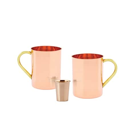 Set of 2, 14 Oz. Solid Copper Straight Sided Moscow Mule Mug (L,UL,CBH) with Bonus Copper Shot