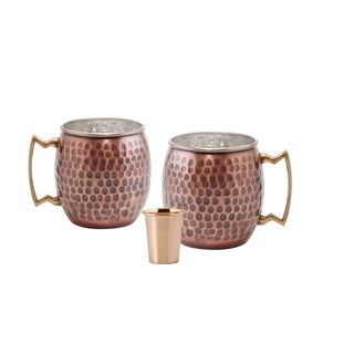 Set of 2, 16 Oz. Hammered Antique Solid Copper Moscow Mule Mug (L,NL,CBH) with Bonus Copper Shot