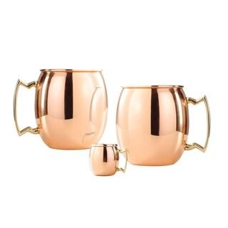 Set of 2, 24 Oz. Solid Copper  Moscow Mule Mug  (L,NL,CBH) with Bonus Mini Mug
