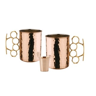 Set of 2, 20 Oz. Hammered Solid Copper Brass Knuckle Moscow Mule Mug (UL,L,CBH) with Bonus Copper Shot