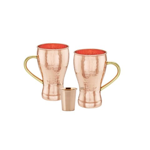 """Set of 2, 14 Oz. """"Soda Fountain Style"""" Hammered Solid Copper Moscow Mule Mug (L, UL, CBH) with Bonus Copper Shot"""
