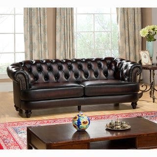 Moore Hand Rubbed Tufted Brown Chesterfield Top Grain Leather Sofa