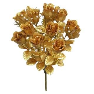 14 Stems Faux Blossoms Rose Bush (Option: Gold)