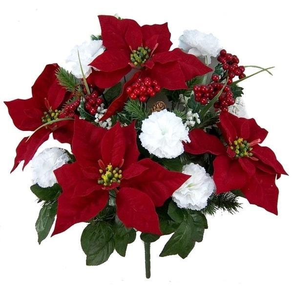 Shop Faux Velvet Poinsettia Carnation Berry Christmas Bush