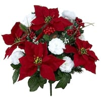 Faux Velvet Poinsettia Carnation Berry Christmas Bush, Red/White