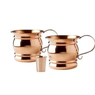 Set of 2, 16 Oz. Solid Copper Moscow Mule Mug with Flat Handle (UL,NtL,SCH) with Bonus Copper Shot