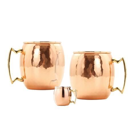 Set of 2, 24 Oz. Hammered Solid Copper Moscow Mule Mug (L,NL,CBH) with Bonus Mini Mug