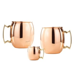 Set of 2, 16 Oz. Solid Copper Moscow Mule Mug (L,NL,CBH) with Bonus Mini Mug