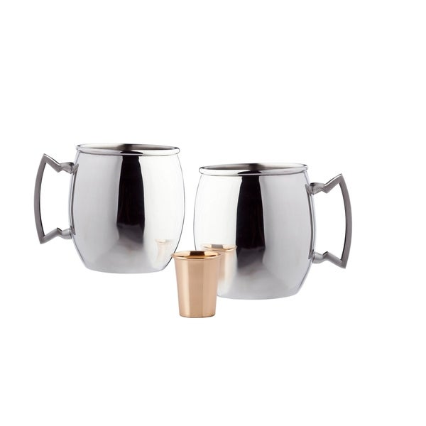 "Set of 2, 16 Oz. ""Steelii"" Stainless Steel  Moscow Mule Mug, (UL,NtL,SSH) with Bonus Copper Shot"
