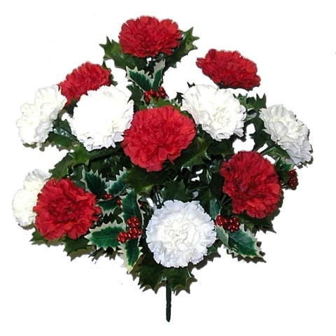 14 Stems Faux Blooming Carnation Berry Flower Bush, Red/Cream