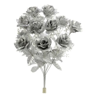 12 Stems Artificial Veined Satin Rose Flowers Bush (Option: Silver)