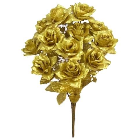 12 Stems Artificial Veined Satin Rose Flowers Bush